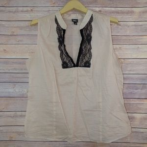 Mossimo Sheer Sleeveless Top With Lace Neckline